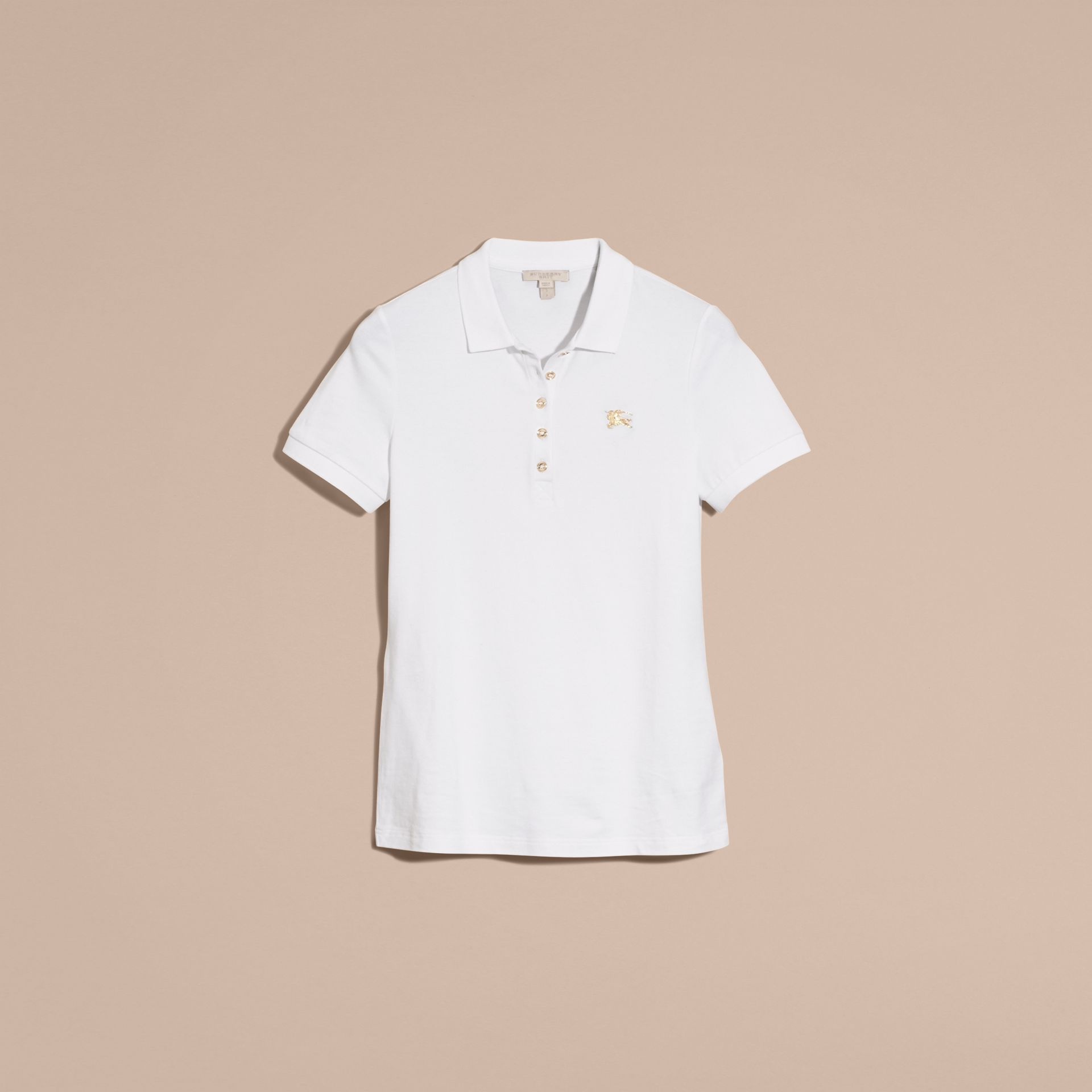 Stretch Cotton Piqué Polo Shirt in White - gallery image 4