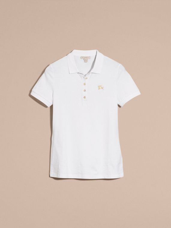 Stretch Cotton Piqué Polo Shirt in White - cell image 3