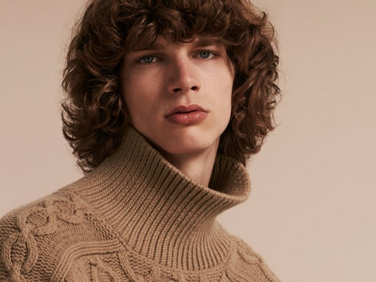 Camel Wool Cashmere Cable Knit Jumper - cell image 4