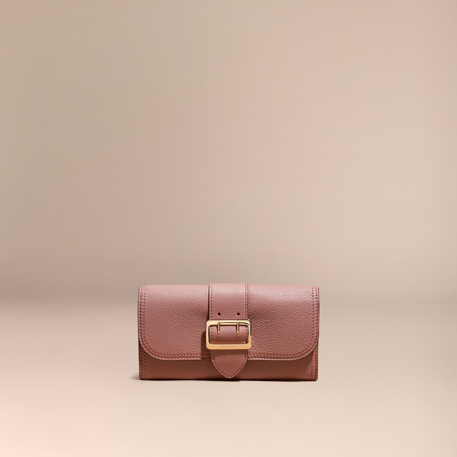 Dusty pink Textured Leather Continental Wallet Dusty Pink - gallery image 2