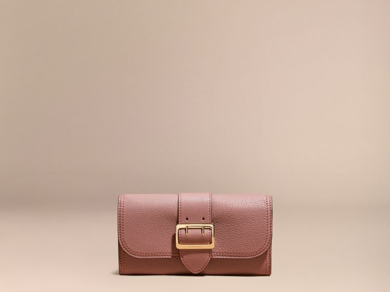 Dusty pink Textured Leather Continental Wallet Dusty Pink - cell image 1