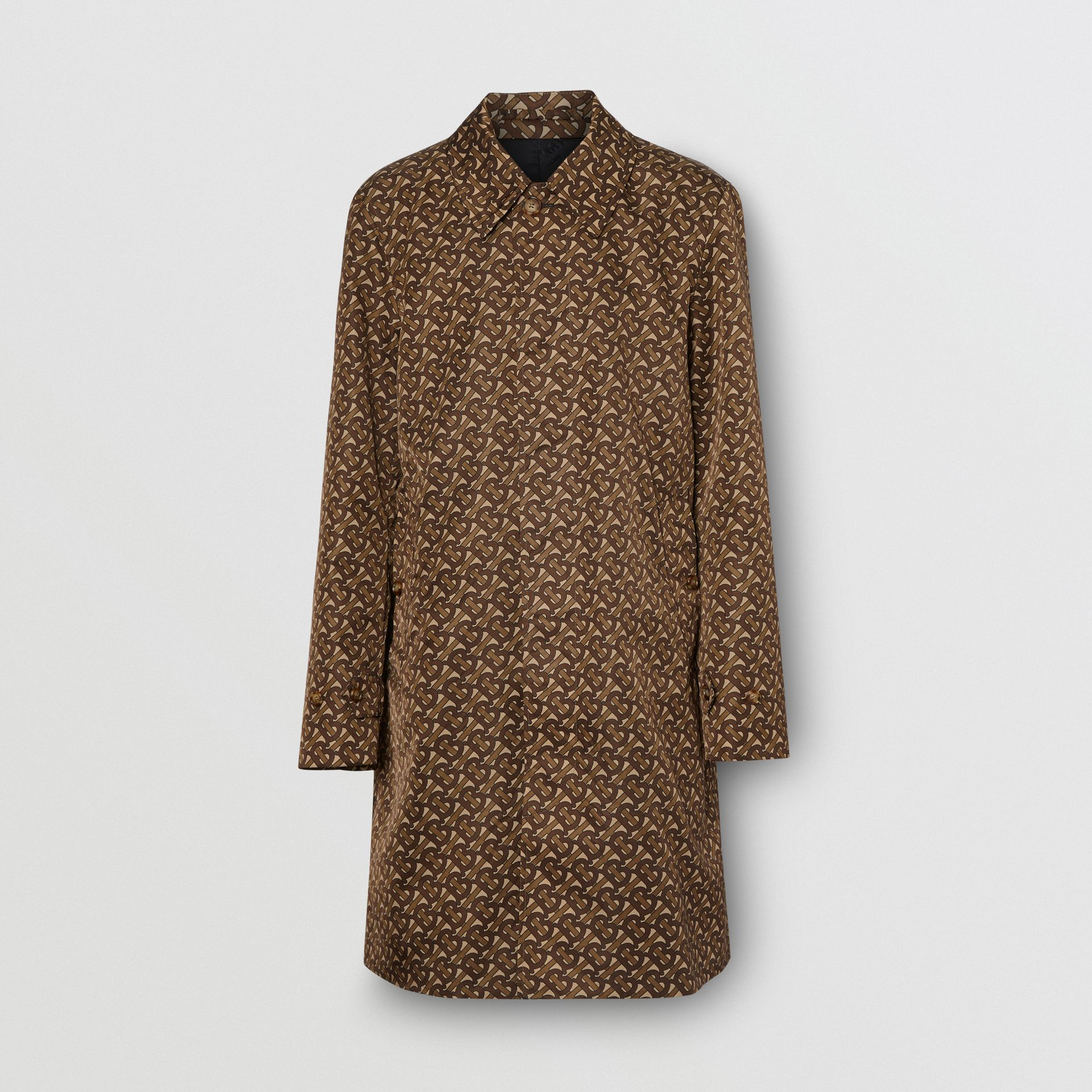 Monogram Stripe Print Nylon Car Coat in Bridle Brown - Men | Burberry United Kingdom - gallery image 3