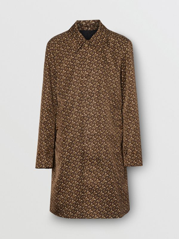 Car coat in nylon con stampa monogramma e righe verticali (Marrone Redini) - Uomo | Burberry - cell image 3