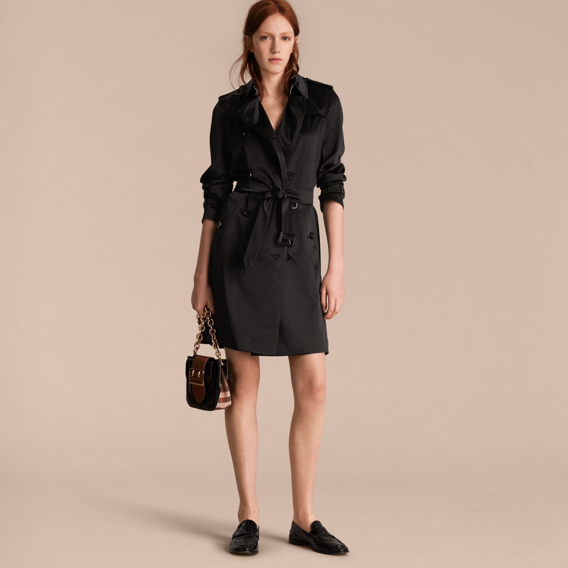 Black Silk Trench Coat - gallery image 6