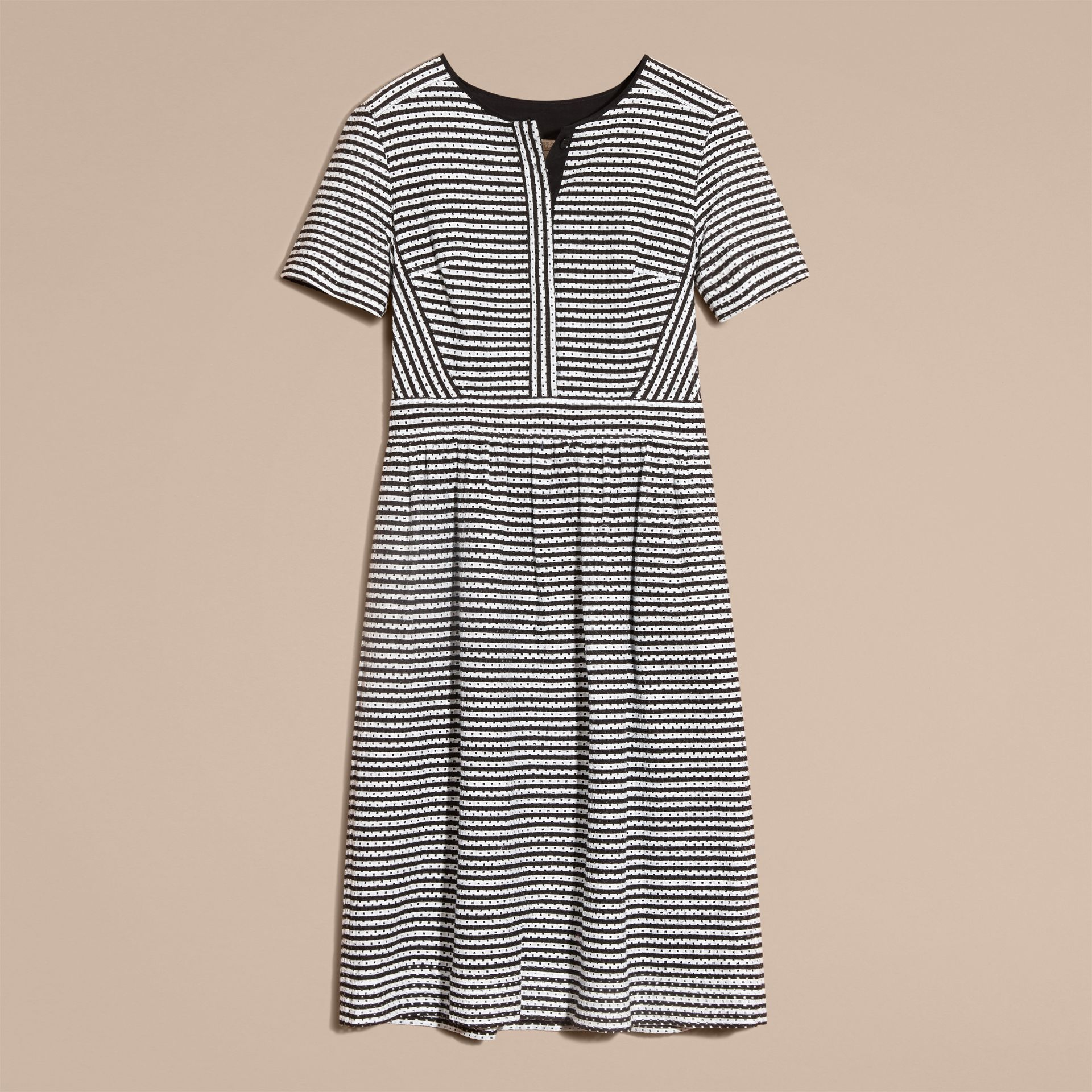 Black Striped Cotton Broderie Dress - gallery image 4