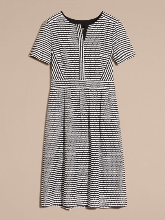 Black Striped Cotton Broderie Dress - cell image 3