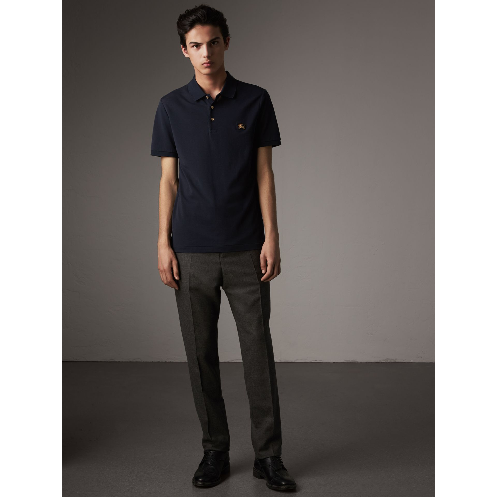 Cotton Piqué Polo Shirt in Navy - Men | Burberry - gallery image 5