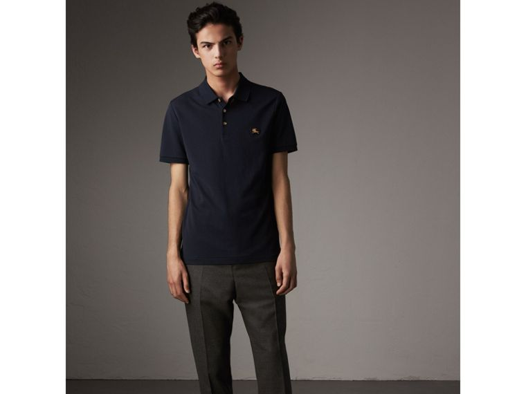 Cotton Piqué Polo Shirt in Navy - Men | Burberry United Kingdom - cell image 4