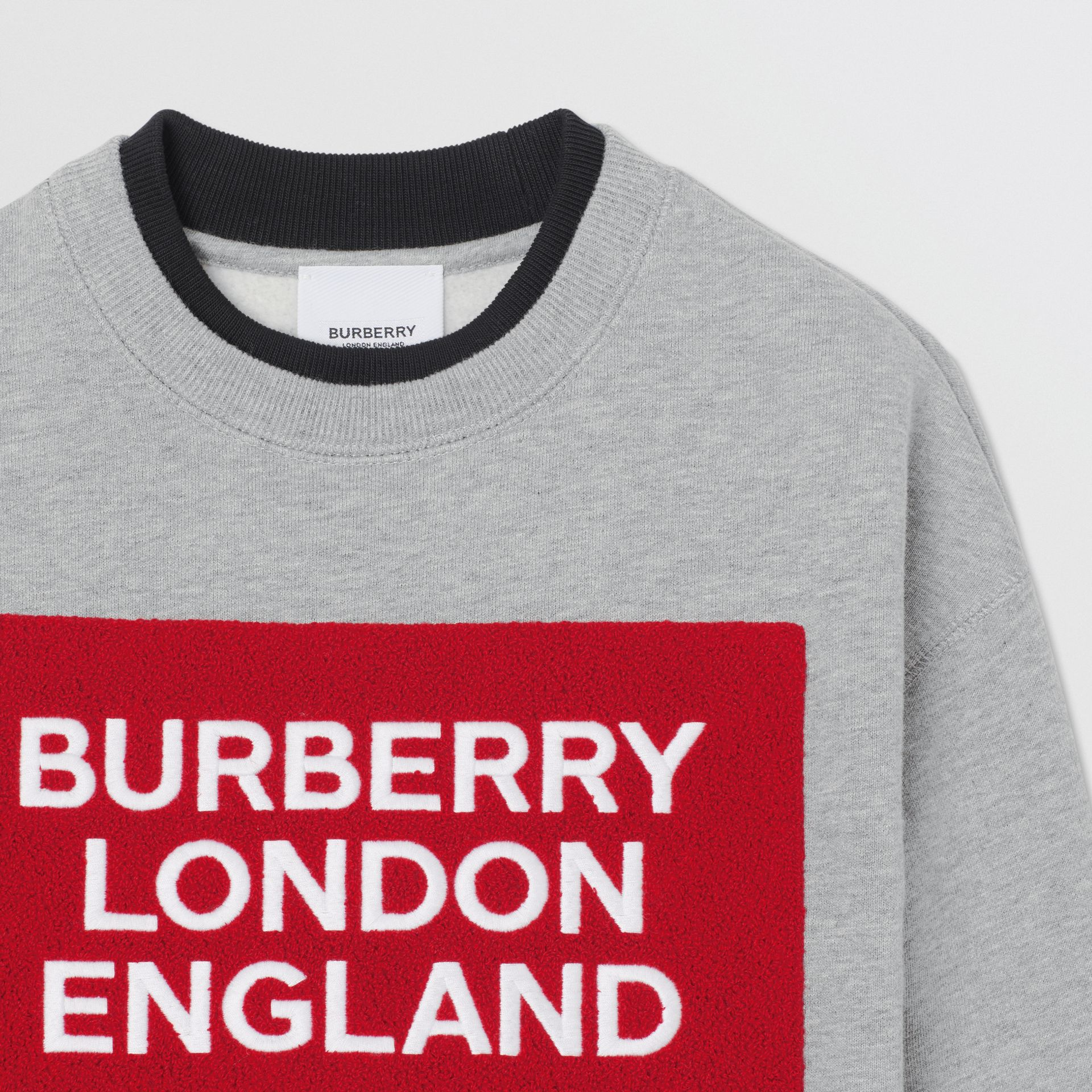 Logo Detail Cotton Sweatshirt in Grey Melange | Burberry - gallery image 5