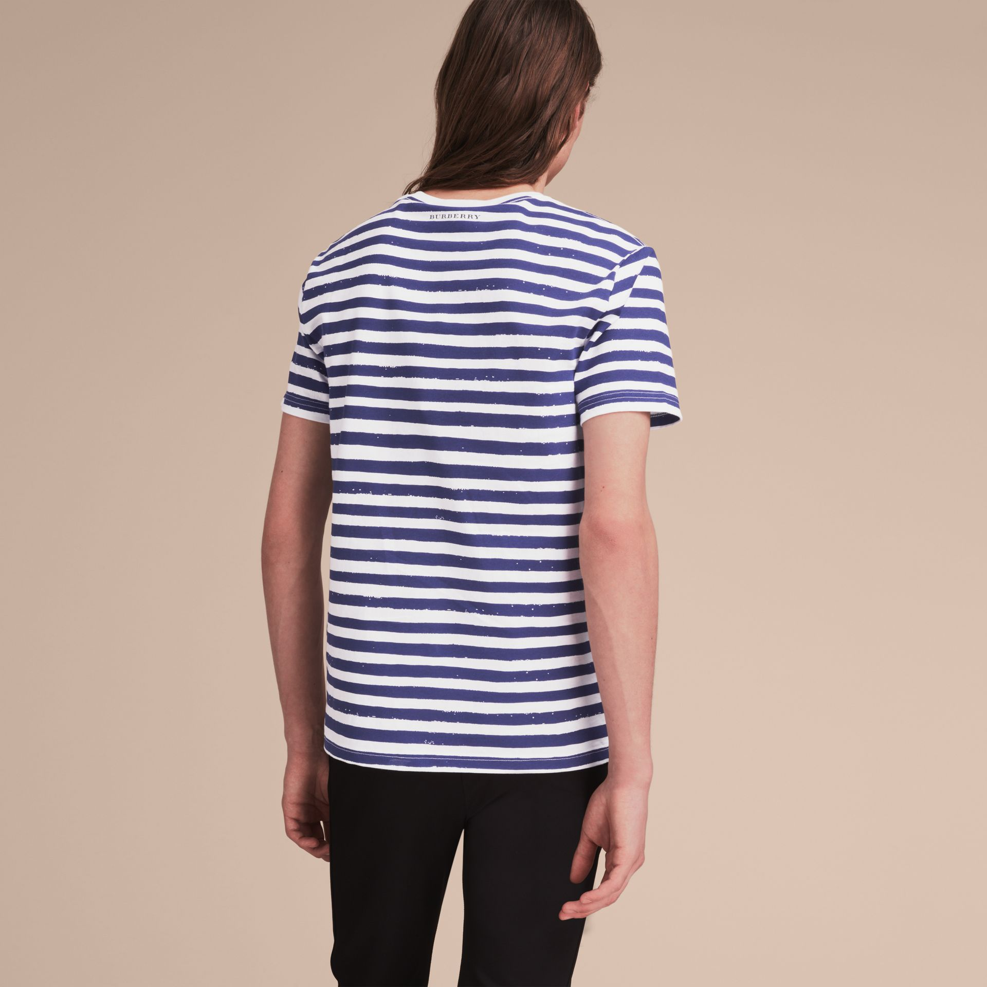 Pallas Heads Print Striped Cotton T-shirt in White - Men | Burberry - gallery image 3