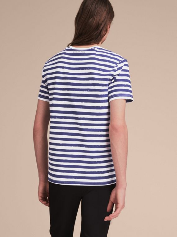 Pallas Heads Print Striped Cotton T-shirt in White - Men | Burberry - cell image 2