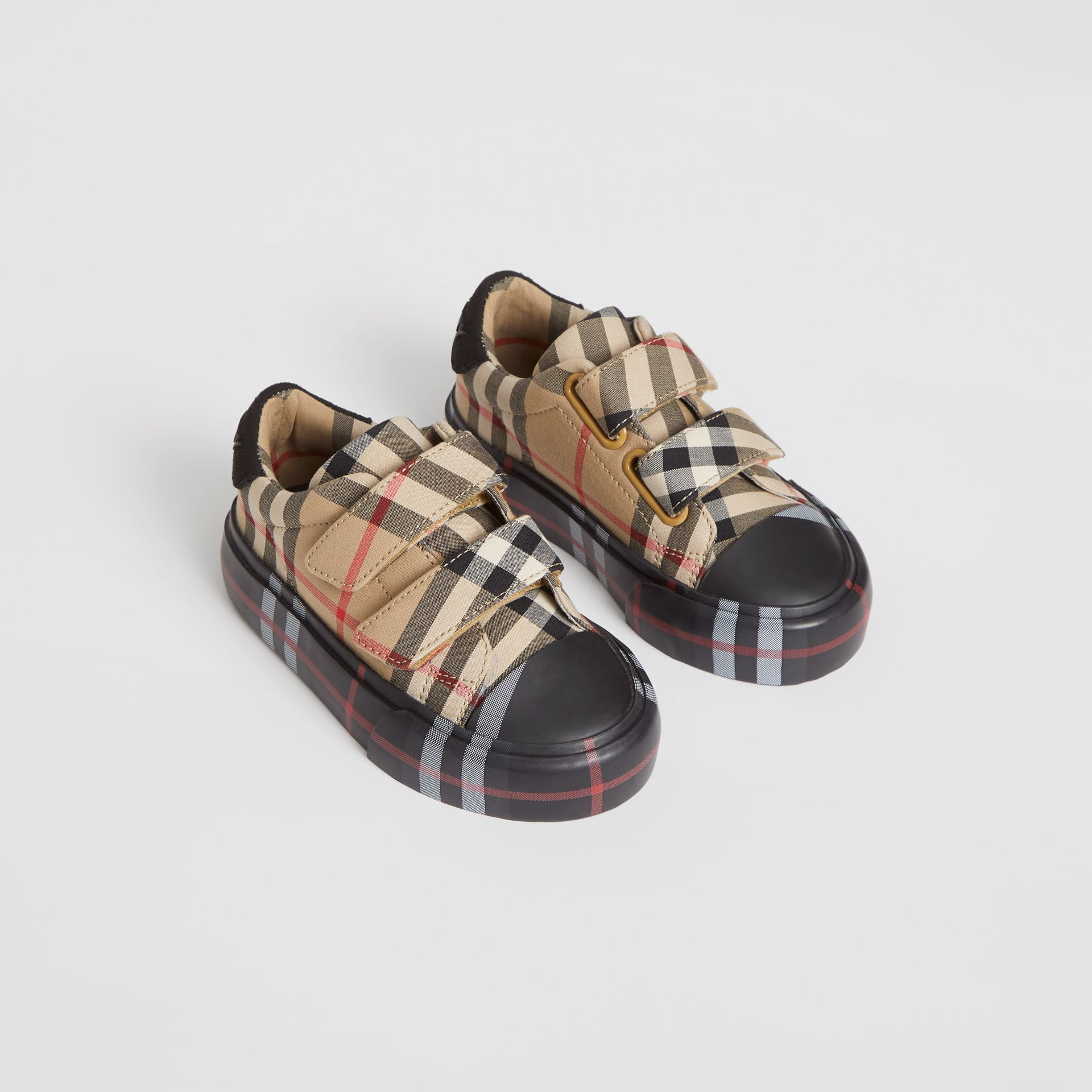 Contrast Check Cotton Sneakers in Archive Beige/black - Children | Burberry United States - gallery image 0