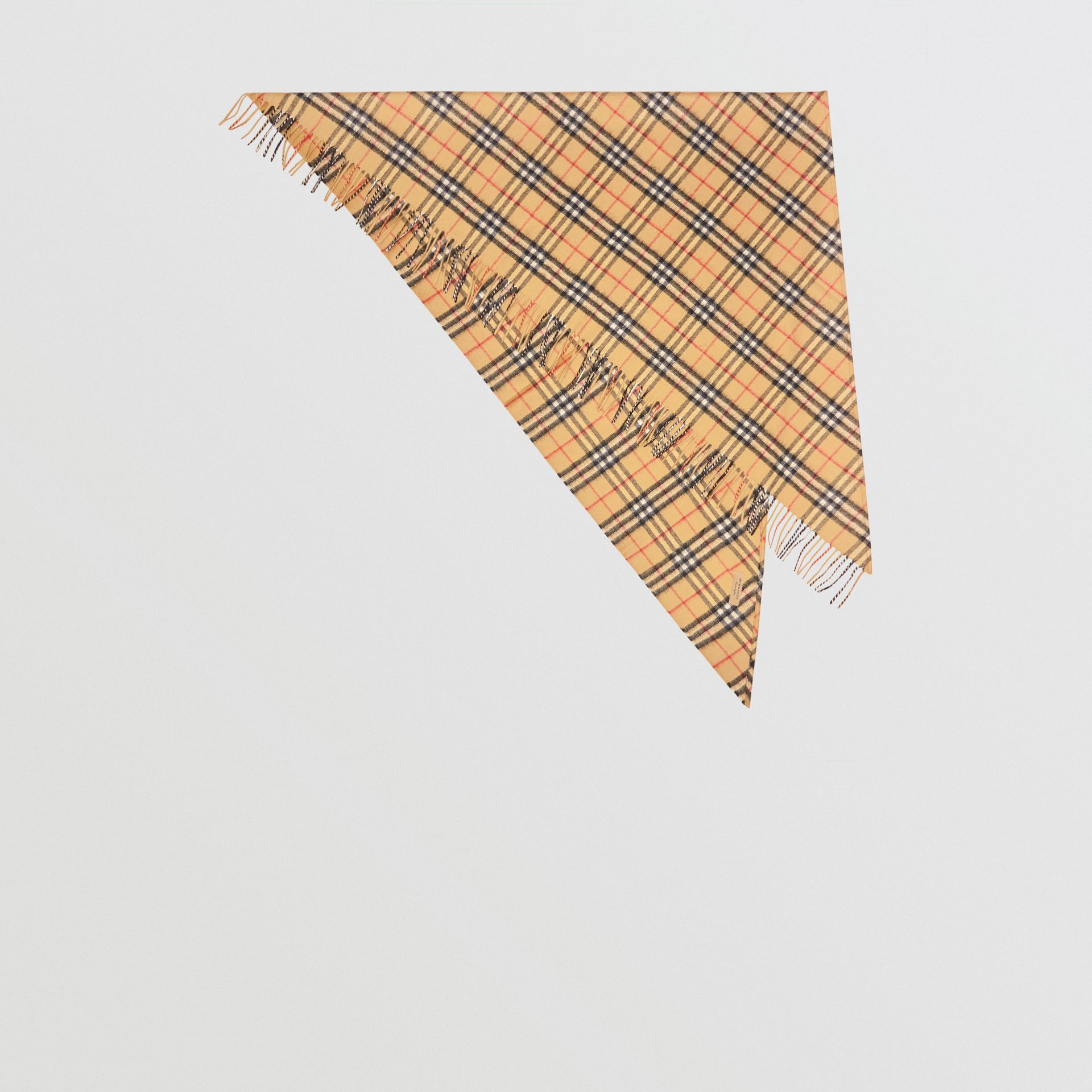 The Burberry Bandana in Vintage Check Cashmere in Antique Yellow | Burberry Australia - gallery image 0