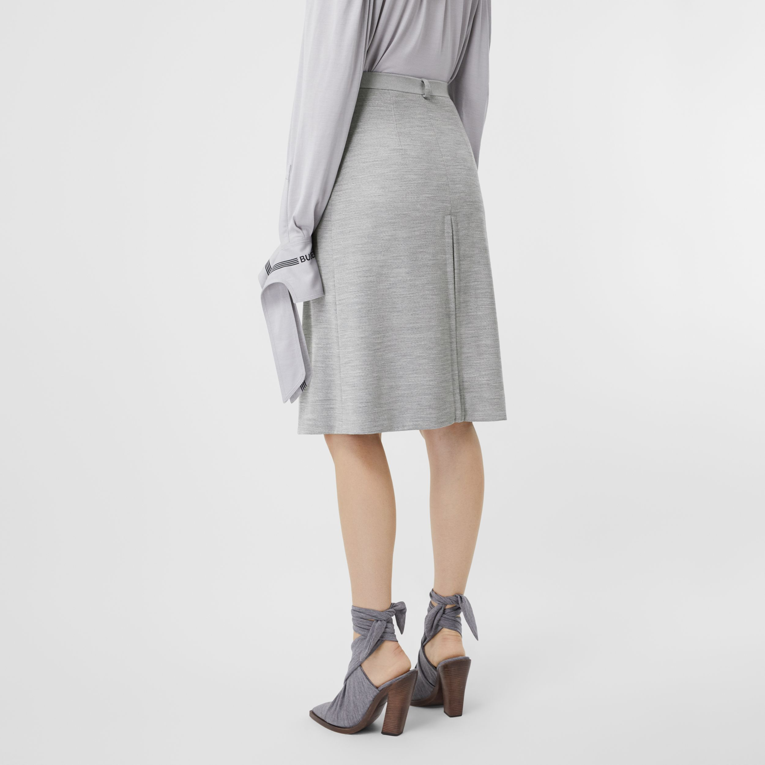 Box-pleat Detail Technical Wool Jersey A-line Skirt in Cloud Grey - Women | Burberry - 3