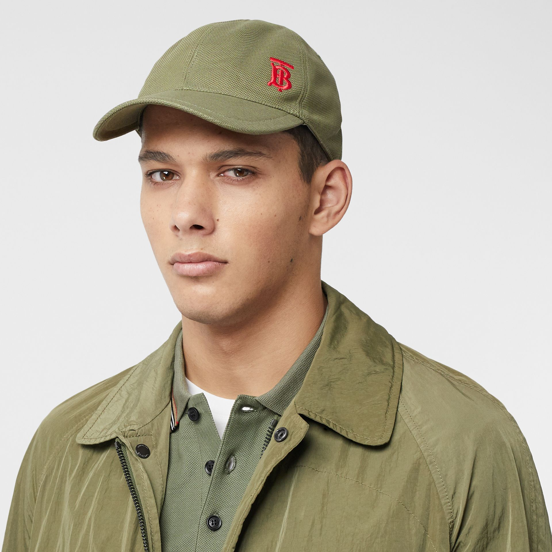 Monogram Motif Baseball Cap in Poplar Green | Burberry - gallery image 2