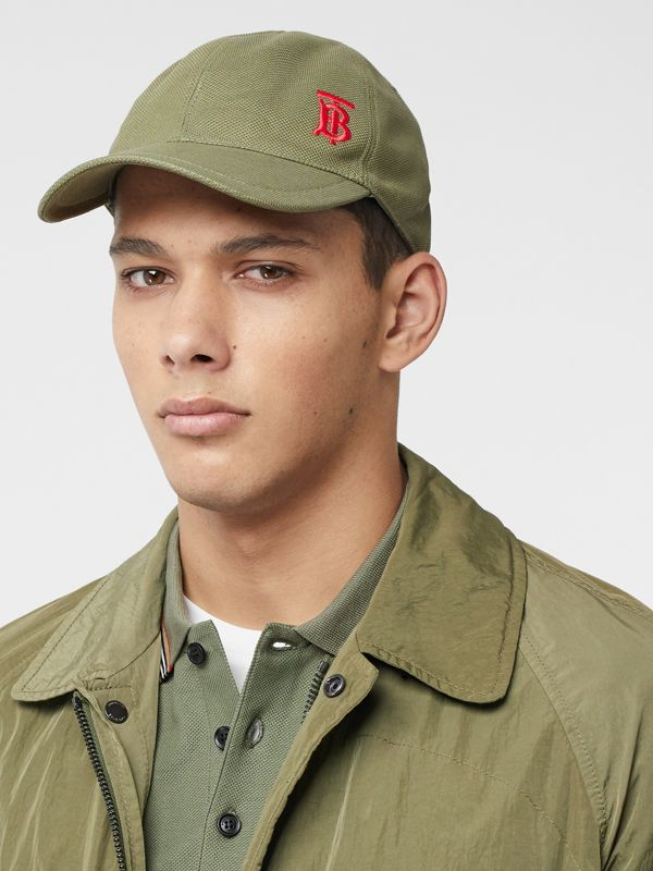 Monogram Motif Baseball Cap in Poplar Green | Burberry Australia - cell image 3
