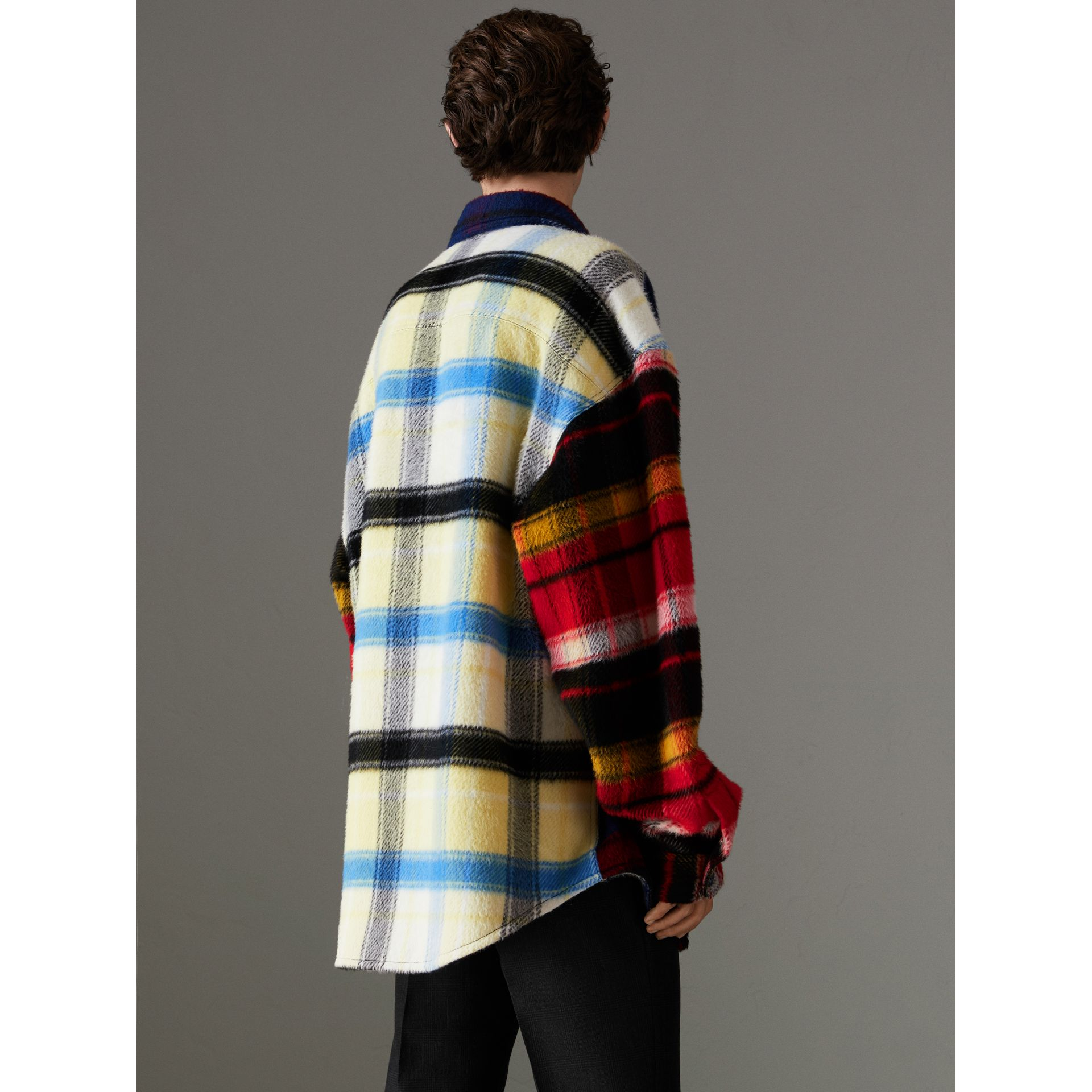 Check Alpaca Wool Jacket in Bright Navy | Burberry - gallery image 2