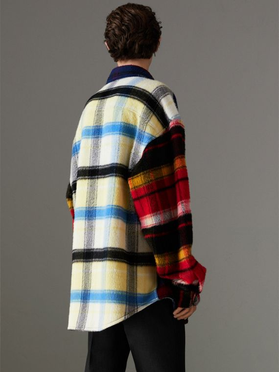 Check Alpaca Wool Jacket in Bright Navy | Burberry - cell image 2