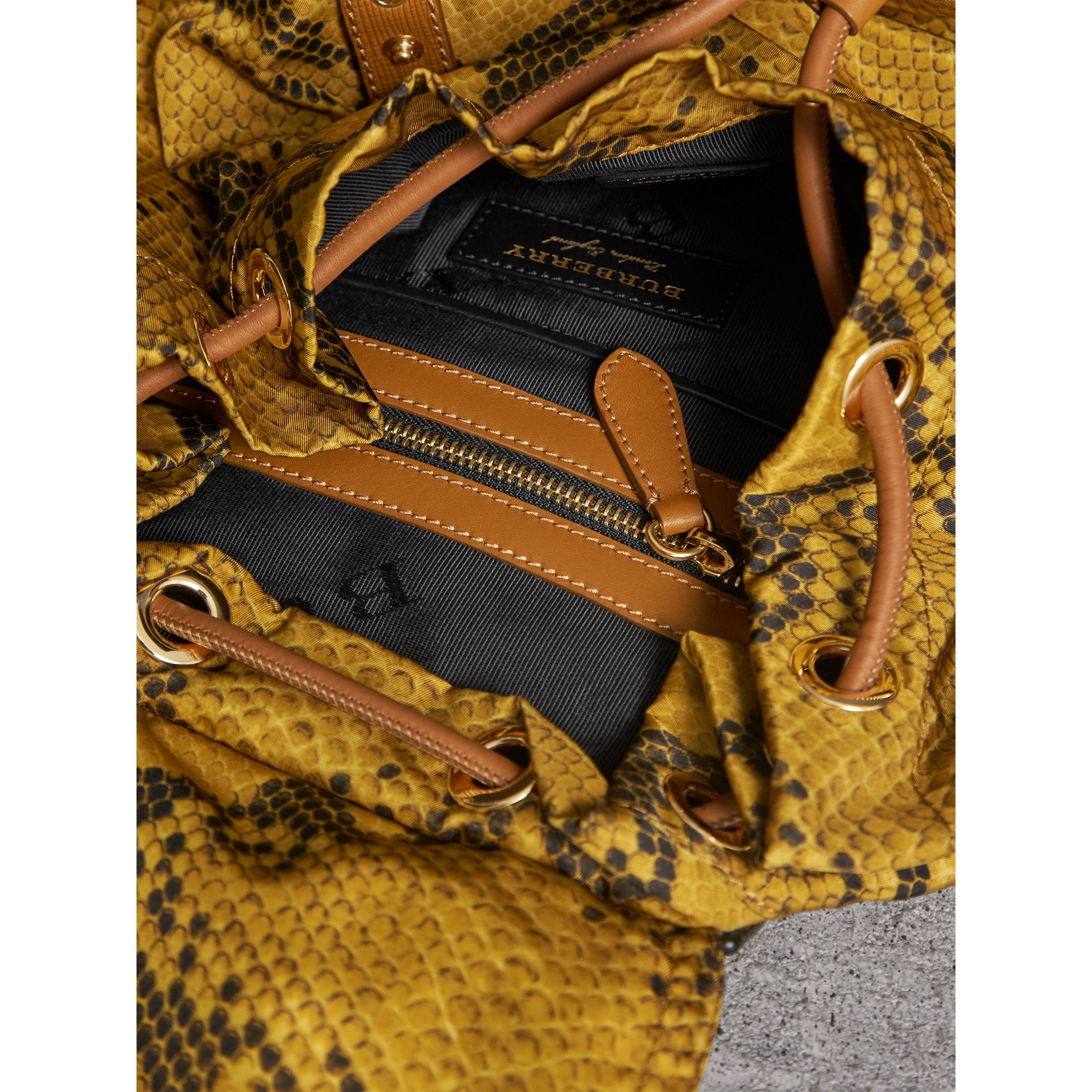 The Large Rucksack in Python Print Nylon and Leather in Yellow - Women | Burberry - gallery image 5