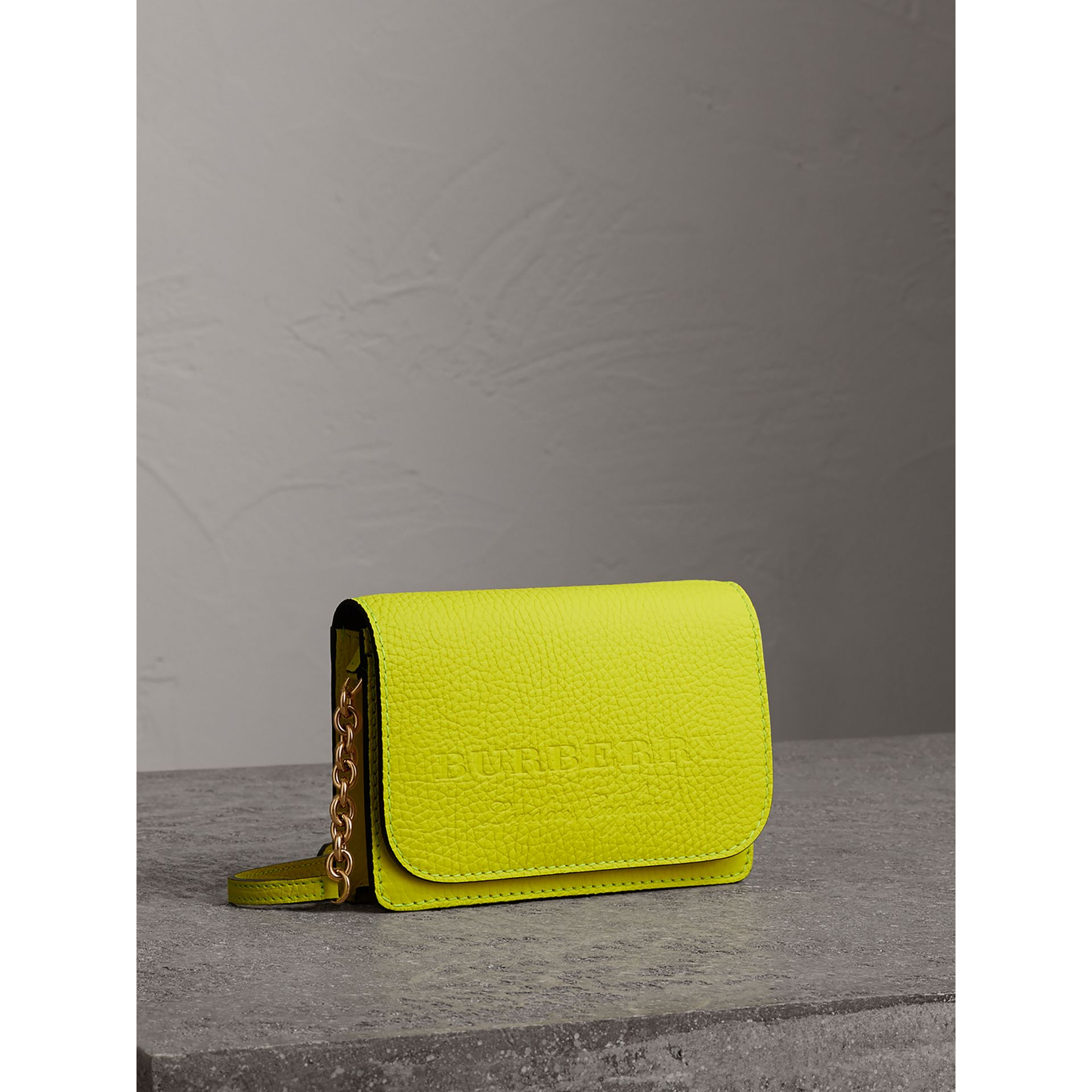 Embossed Leather Wallet with Detachable Strap in Bright Yellow - Women | Burberry - gallery image 7