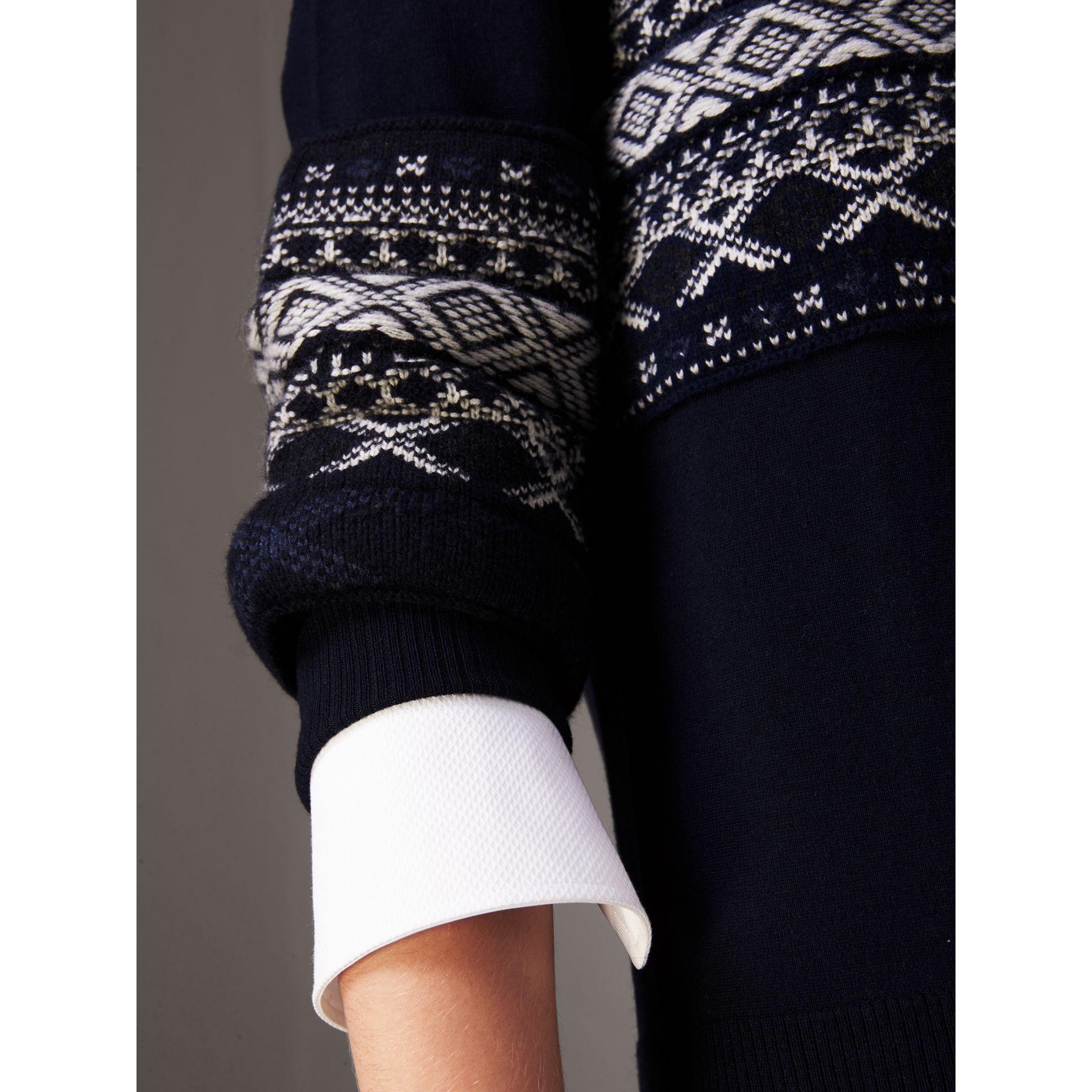 Fair Isle Detail Merino Wool Sweater in Navy - Women | Burberry - gallery image 1