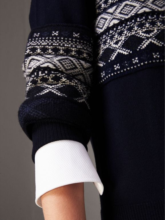 Fair Isle Detail Merino Wool Sweater in Navy - Women | Burberry - cell image 1