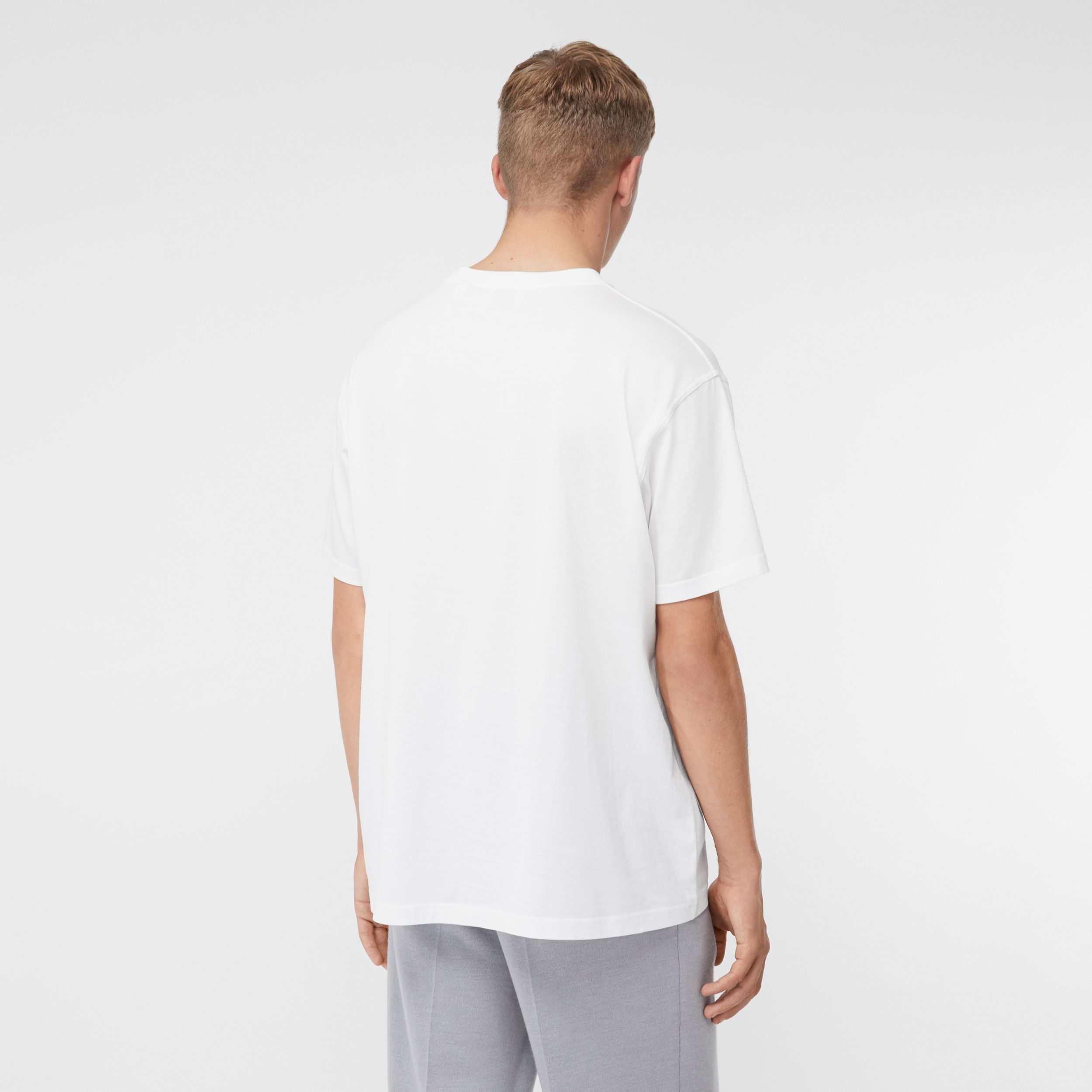 Montage Print Cotton Oversized T-shirt in Optic White - Men | Burberry - 3