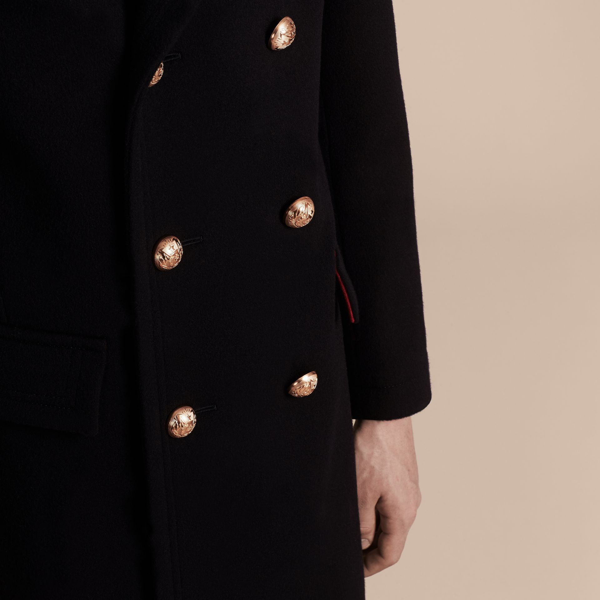 Navy Technical Wool Military Overcoat - gallery image 6