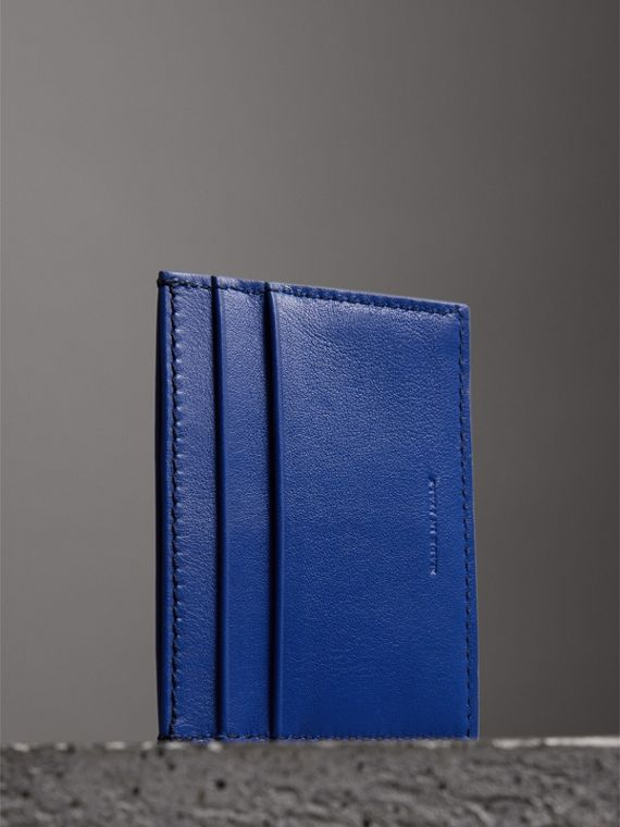 Graffiti Print Leather Card Case in Denim Blue | Burberry - cell image 2
