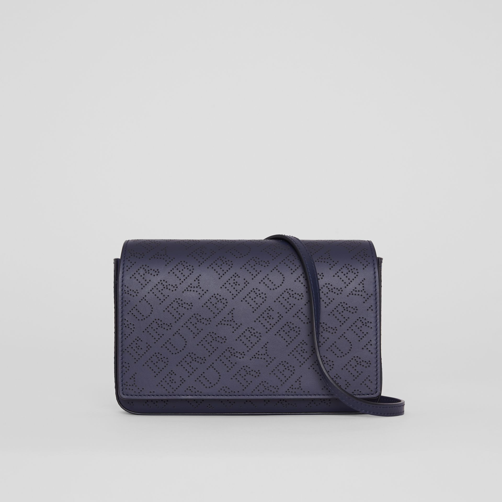 Perforated Logo Leather Wallet with Detachable Strap in Navy - Women | Burberry Australia - gallery image 0