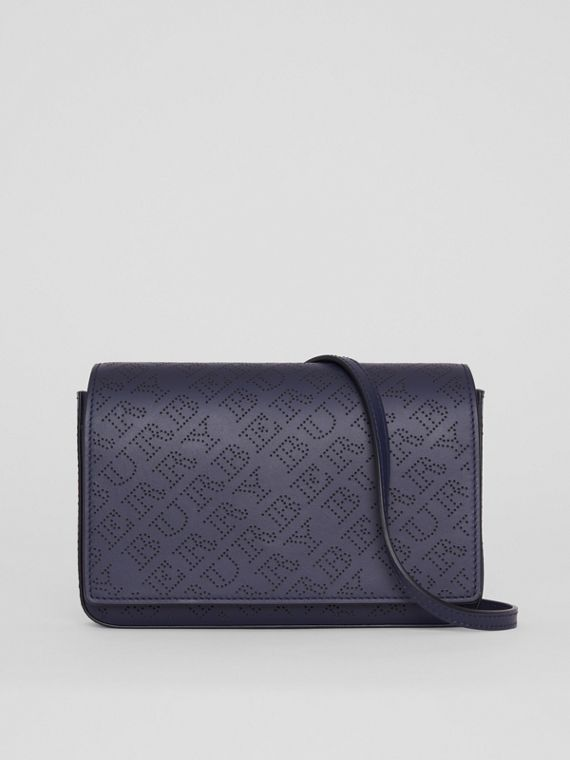 Perforated Logo Leather Wallet with Detachable Strap in Navy