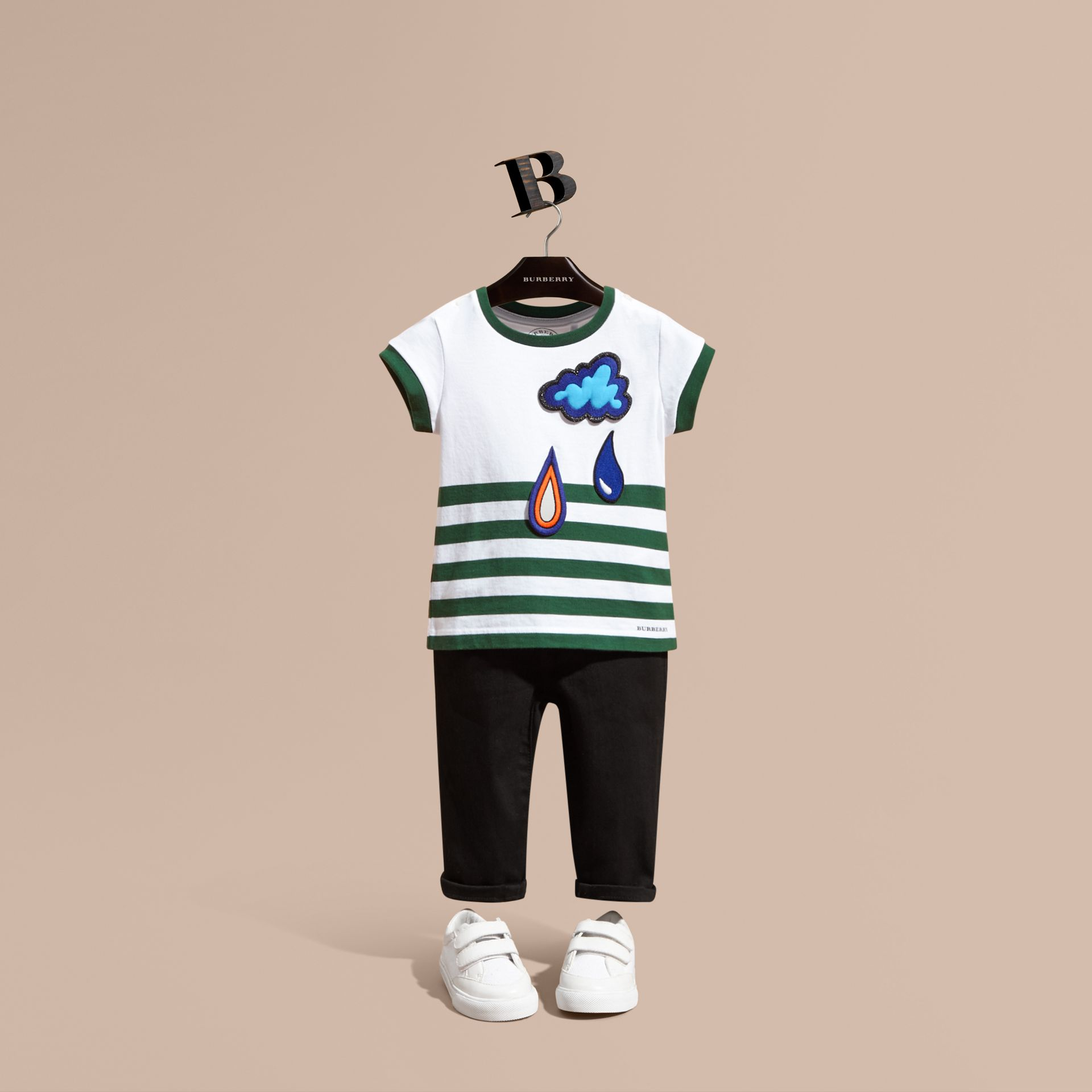 Racing green Striped Cotton T-shirt with Appliqué - gallery image 1