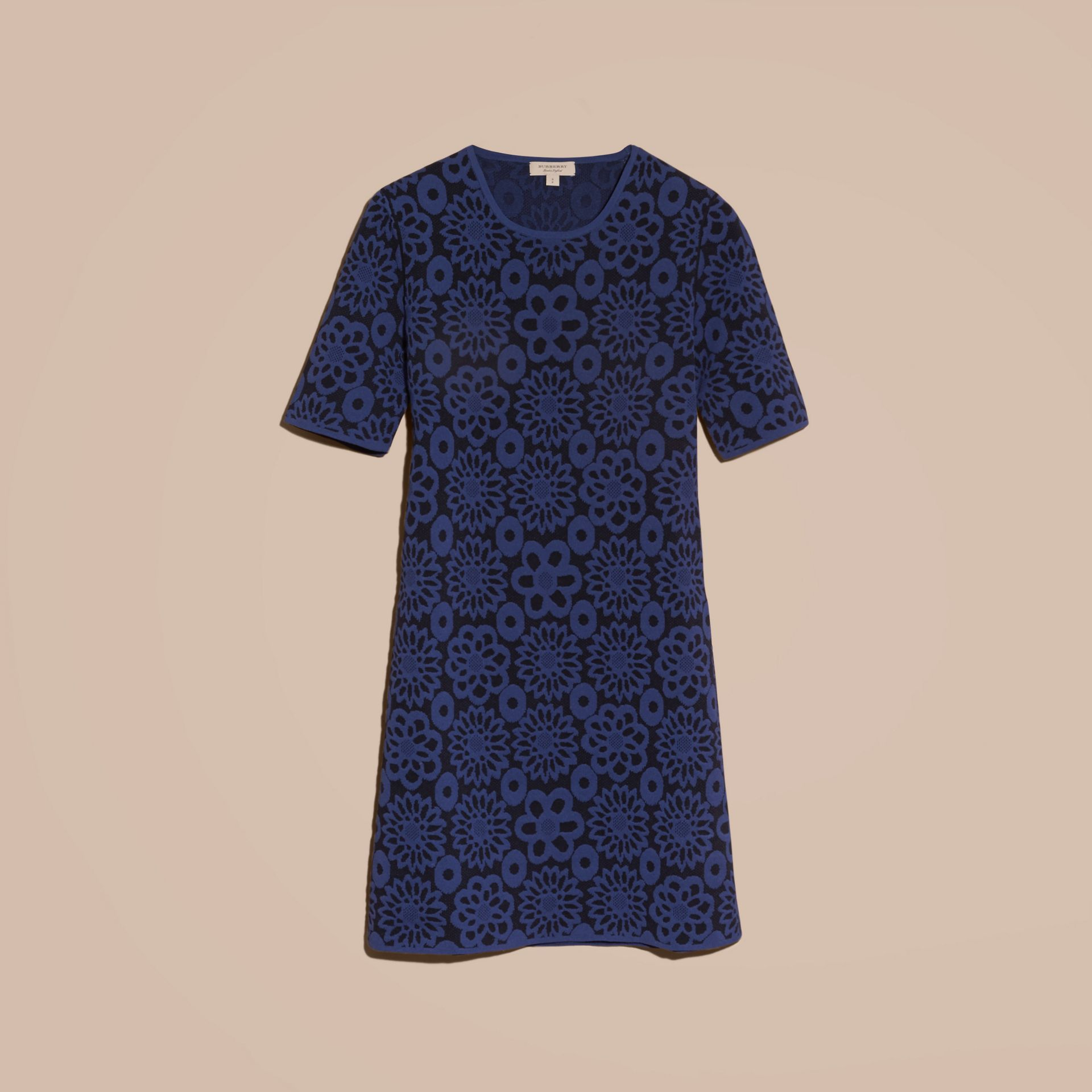 Navy Floral Jacquard Shift Dress - gallery image 4