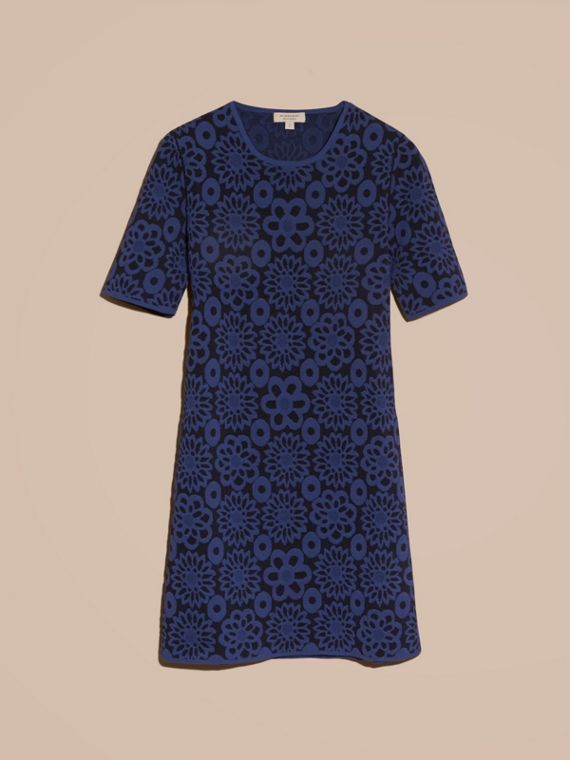 Navy Floral Jacquard Shift Dress - cell image 3