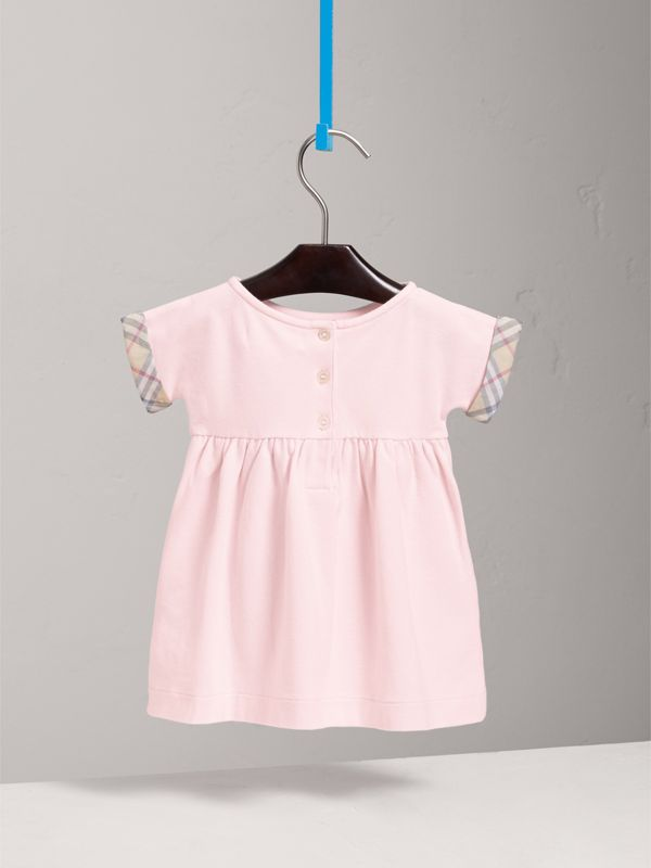 Short-sleeved Cotton Piqué Dress with Check Detail in Powder Pink   Burberry - cell image 3