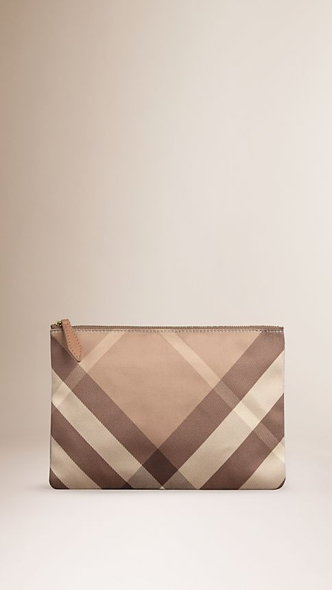 Nude Large Check Silk Satin Beauty Wallet - Image 1