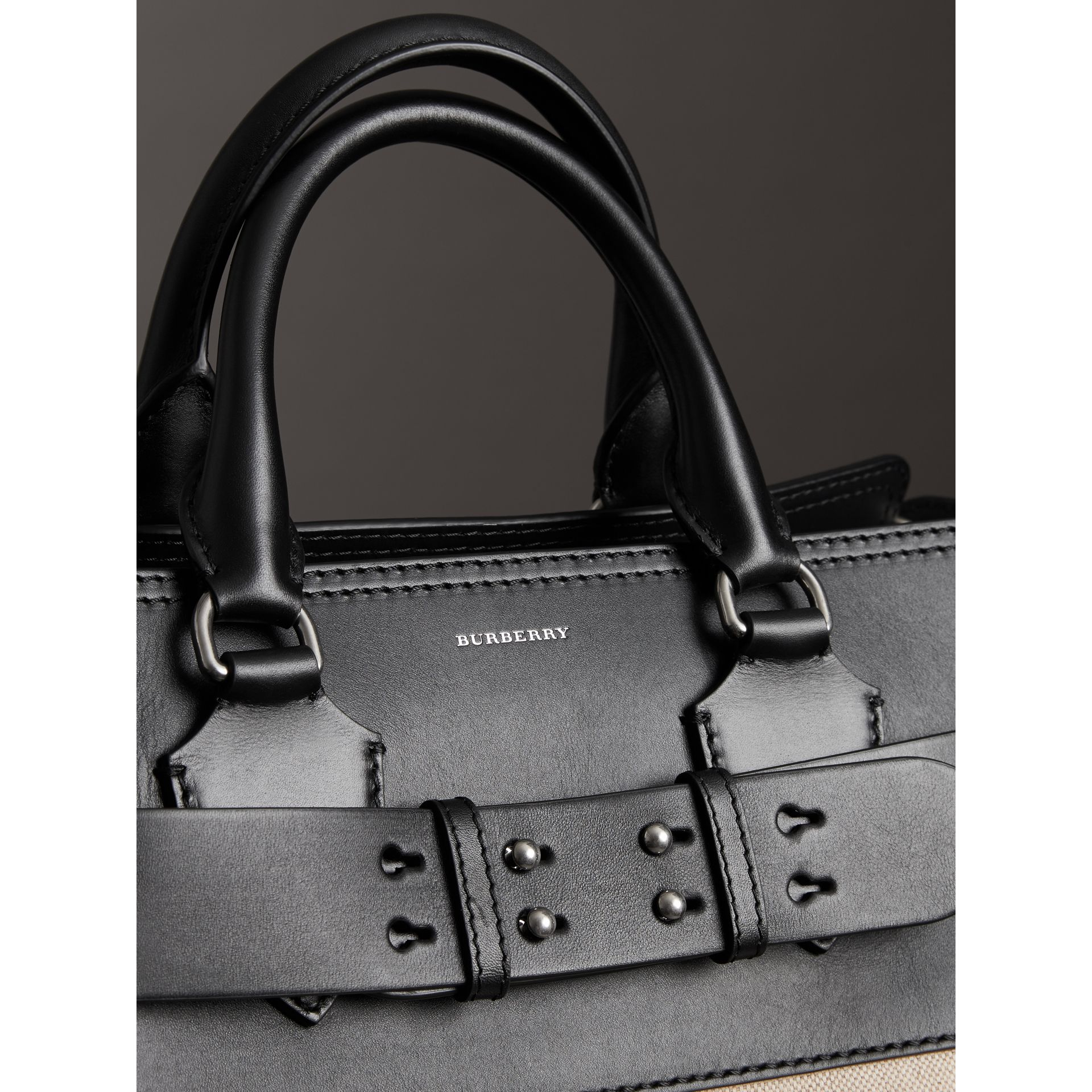 The Medium Canvas and Leather Belt Bag in Black/stone - Women | Burberry - gallery image 1