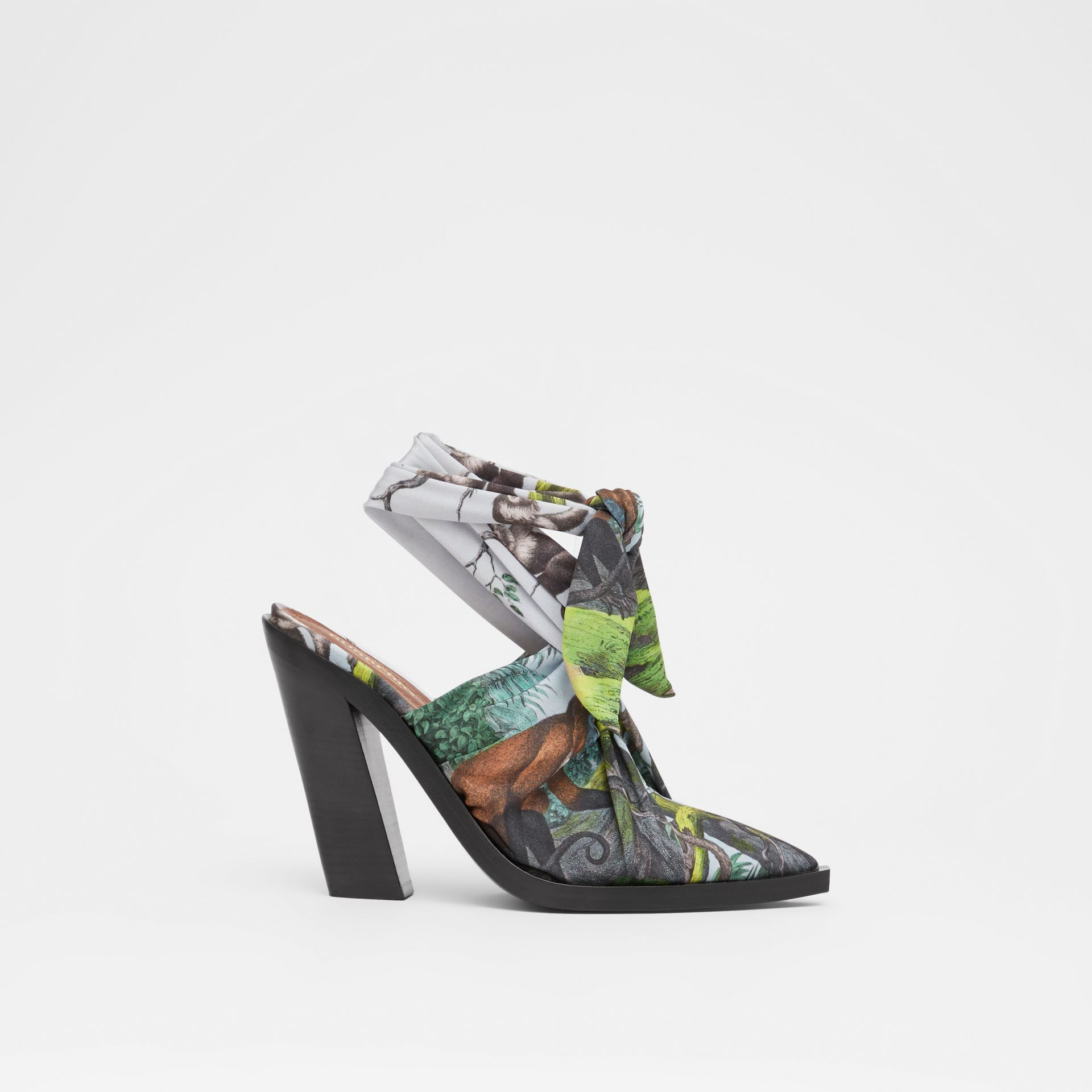 Scarf Tie Detail Monkey Print Point-toe Mules in Opal Green - Women | Burberry United Kingdom - gallery image 5