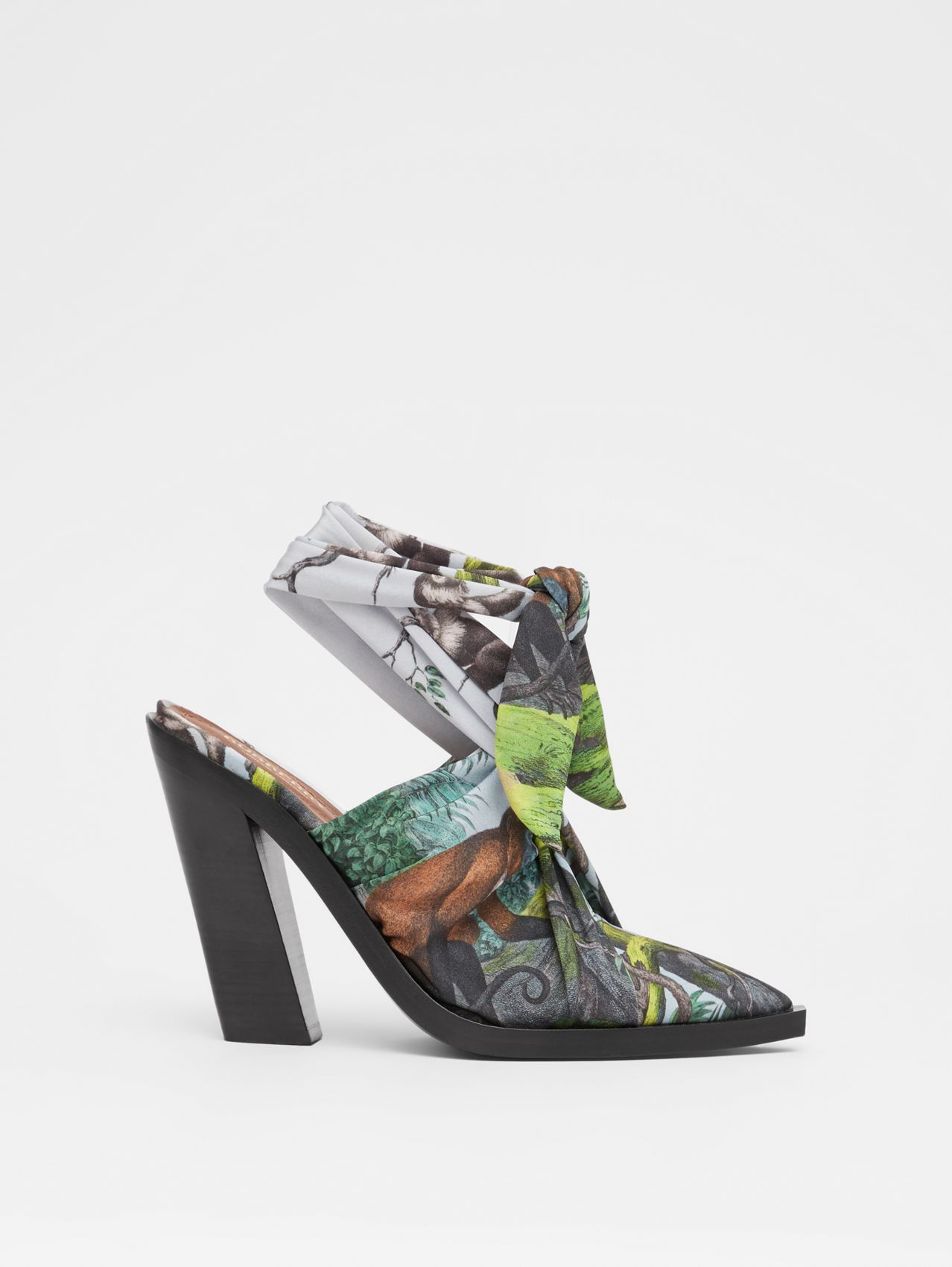 Scarf Tie Detail Monkey Print Point-toe Mules in Opal Green