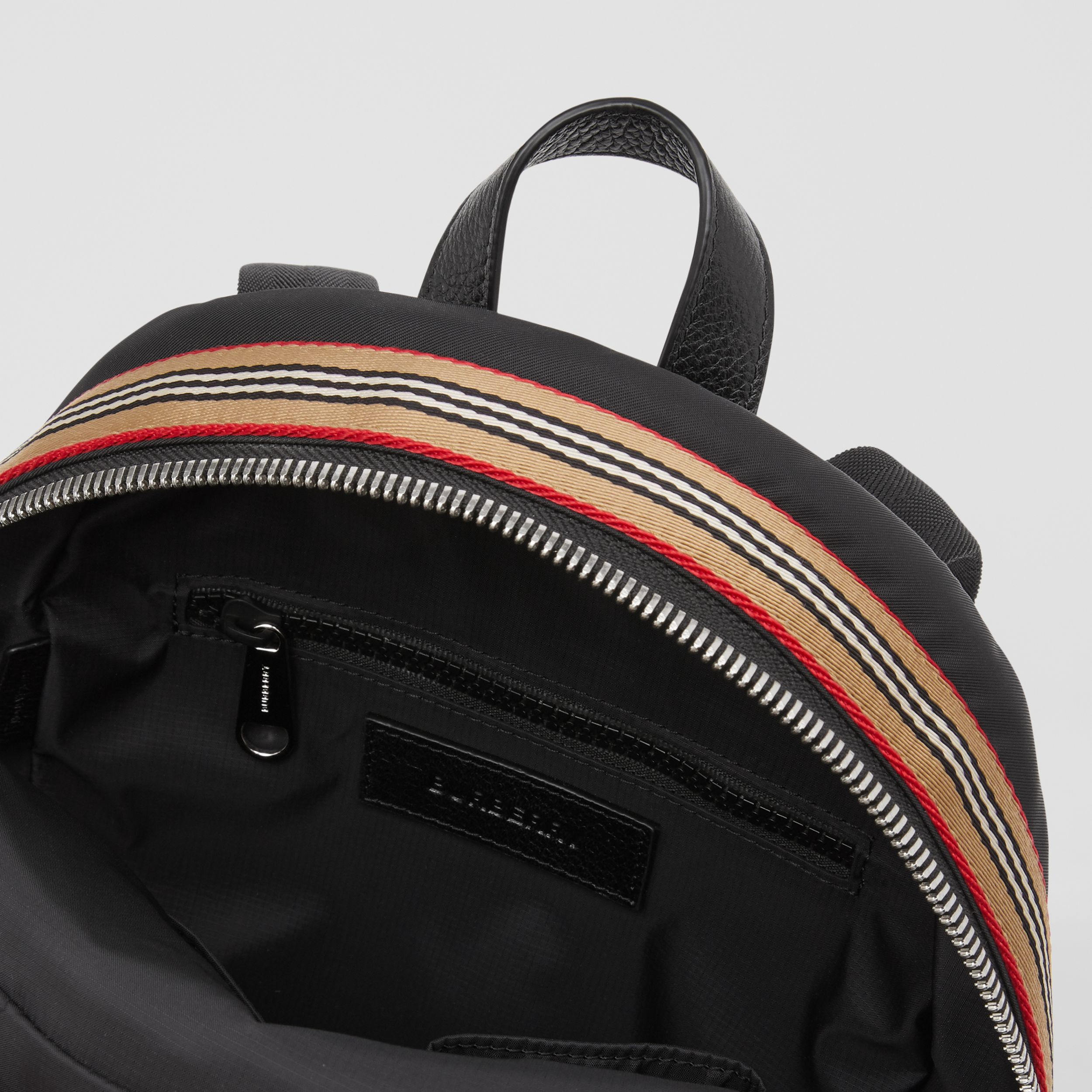 Logo Appliqué Icon Stripe Trim ECONYL® Backpack in Black - Children | Burberry - 4