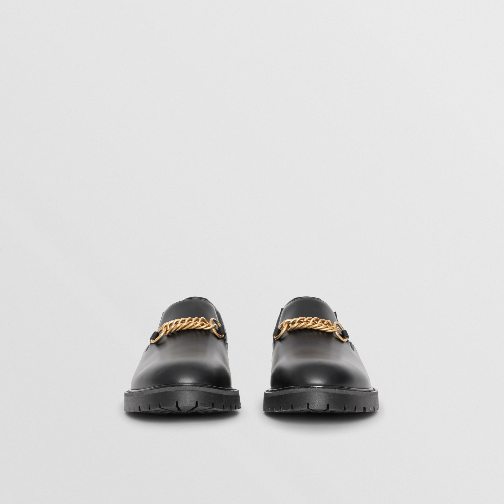 Link Detail Leather Shoes in Black - Men | Burberry - gallery image 3