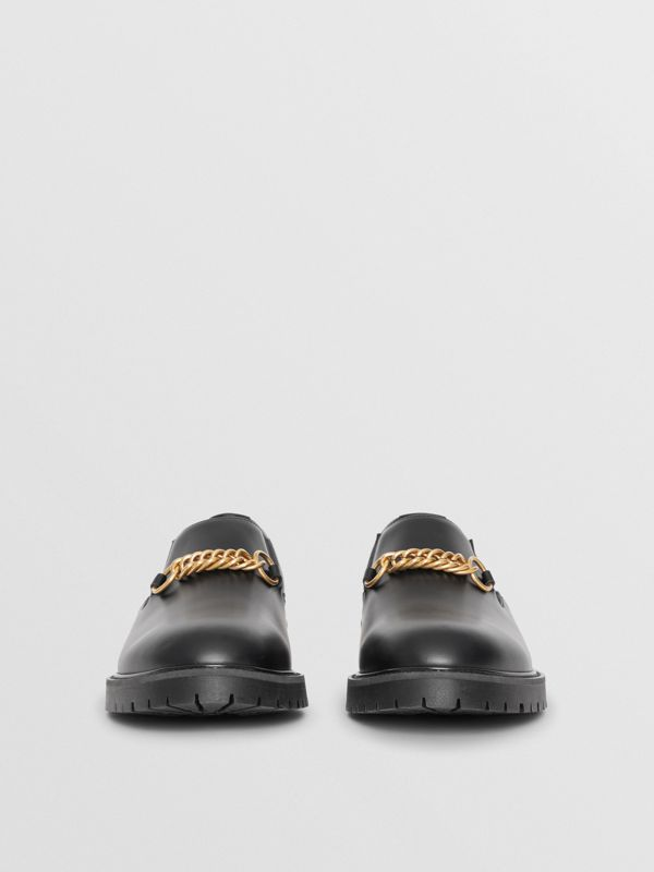 Link Detail Leather Shoe in Black - Men | Burberry United States - cell image 3