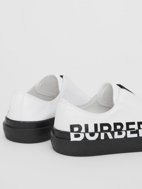 Logo Print Two-tone Cotton Gabardine Slip-on Sneakers in Optic White/black - Children | Burberry - cell image 1