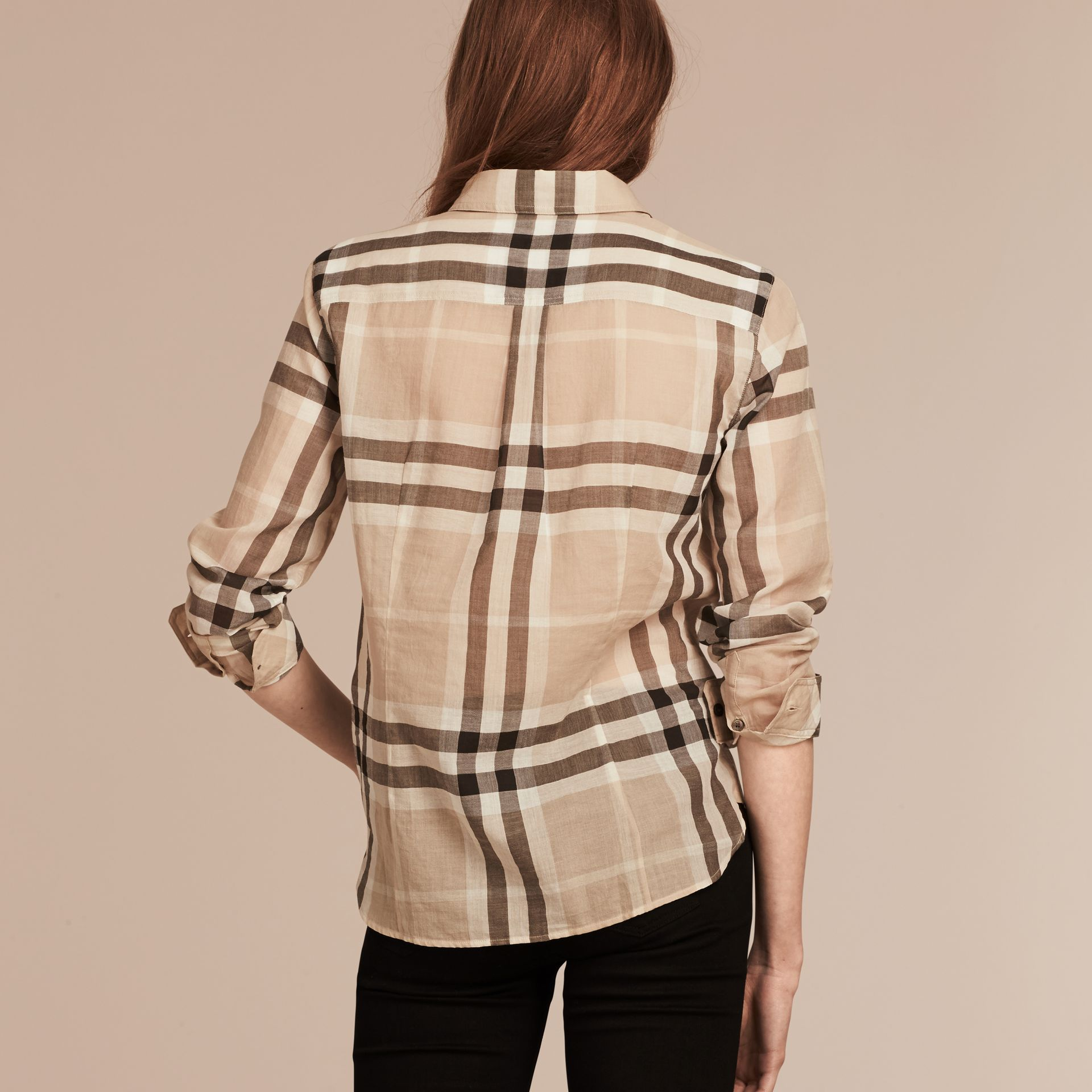 Stone Check Cotton Shirt Stone - gallery image 2