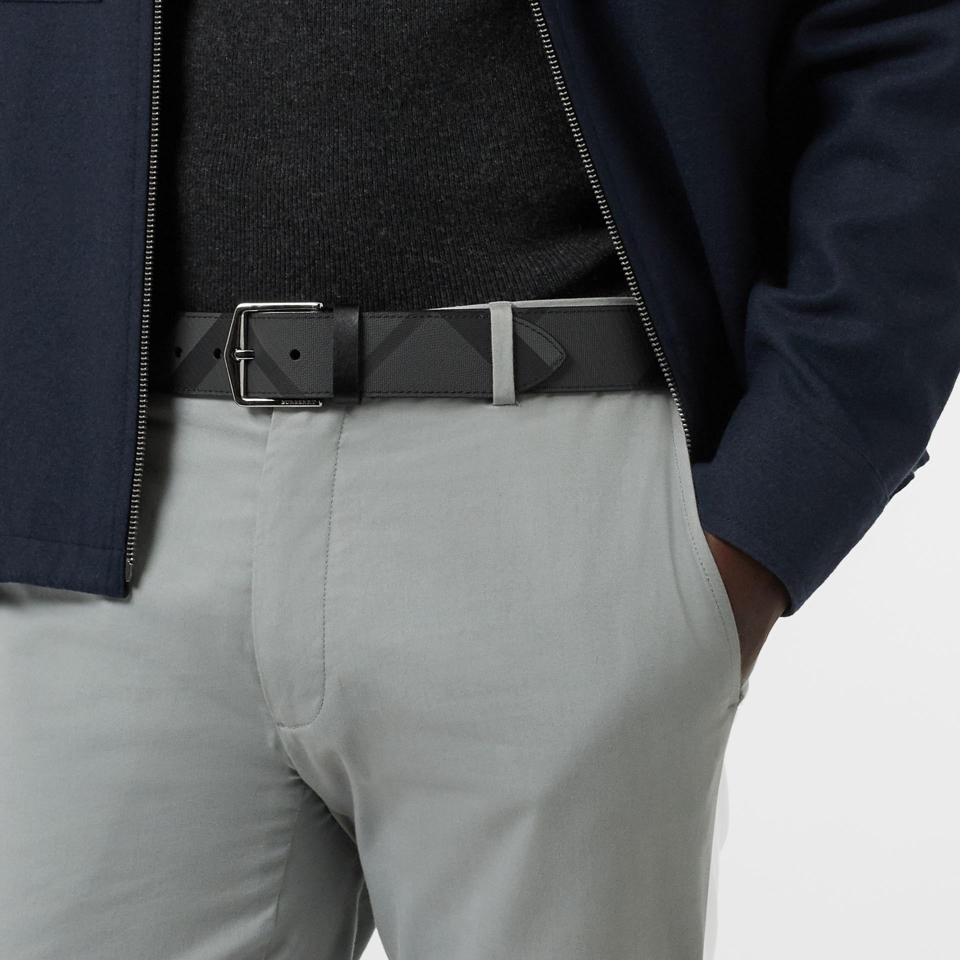London Check Belt in Charcoal/black - Men | Burberry - gallery image 2
