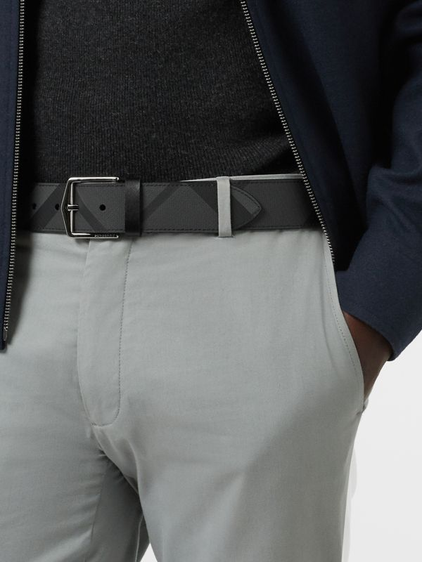 London Check Belt in Charcoal/black - Men | Burberry - cell image 2