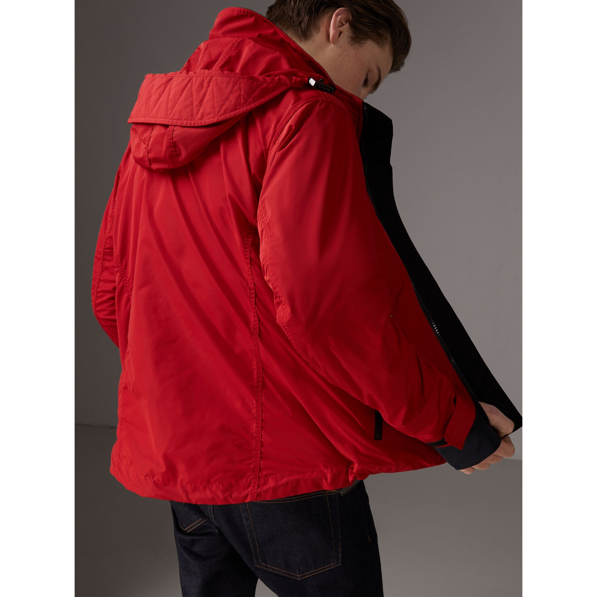 Packaway Hood Shape-memory Taffeta Jacket in Military Red | Burberry - gallery image 2