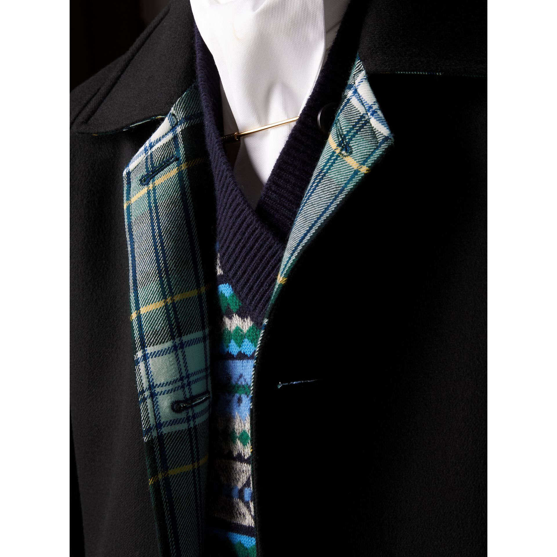 Reversible Cashmere and Tartan Wool Car Coat in Black - Men | Burberry - gallery image 2