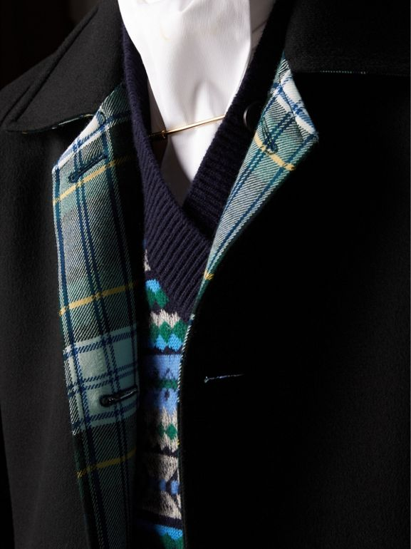 Reversible Cashmere and Tartan Wool Car Coat in Black - Men | Burberry - cell image 1