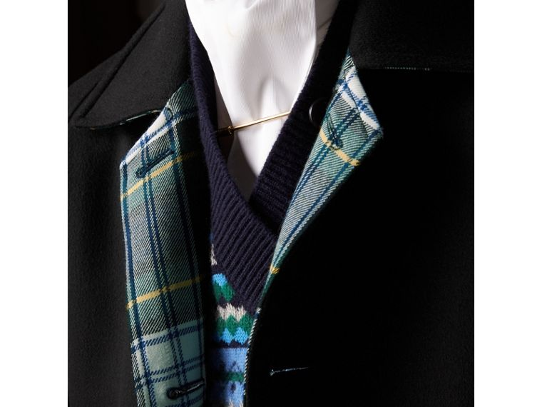 Reversible Cashmere and Tartan Wool Car Coat in Black - Men | Burberry United Kingdom - cell image 1